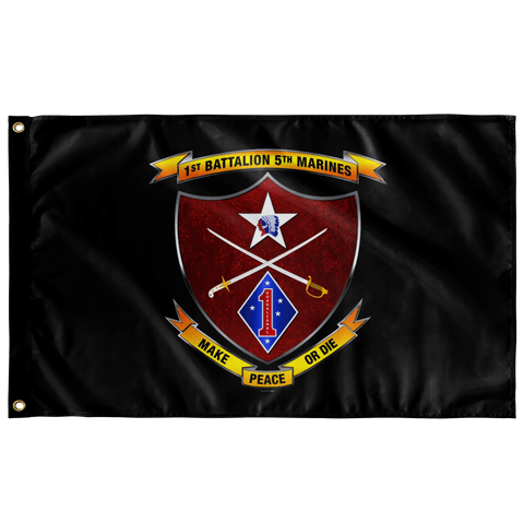 "1st Battalion 5th Marines Black Flag Elite Flags Wall Flag - 36""x60"""