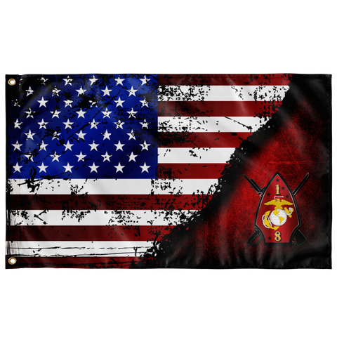 "1st BN 8th Marines Stars & Stripes Flag Elite Flags Wall Flag - 36""x60"""