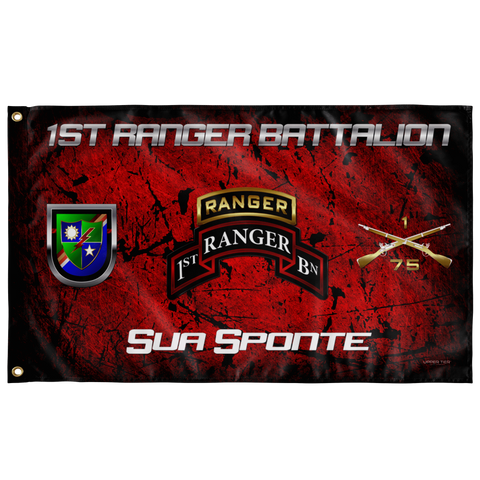 "1st Ranger Battalion Tabbed Sua Sponte Flag Elite Flags Wall Flag - 36""x60"""