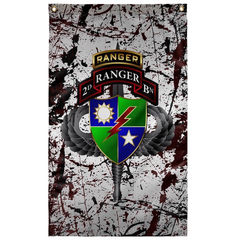 "2nd Ranger Battalion Tabbed Splatter Flag Elite Flags Wall Flag - 36""x60"""