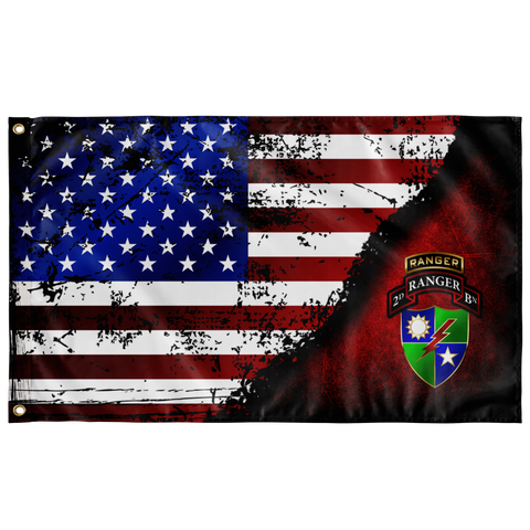 "2nd Ranger Battalion Tabbed Stars & Stripes Flag Elite Flags Wall Flag - 36""x60"""