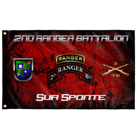 "2nd Ranger Battalion Tabbed Sua Sponte Flag Elite Flags Wall Flag - 36""x60"""