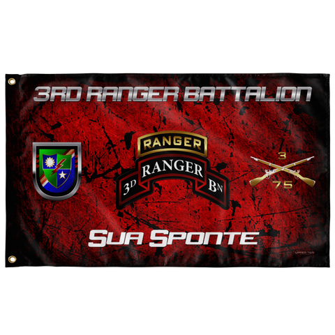 "3rd Ranger Battalion Tabbed Sua Sponte Flag Elite Flags Wall Flag - 36""x60"""