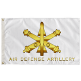"Air Defense Artillery White Flag Elite Flags Wall Flag - 36""x60"""