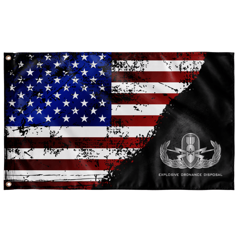 "EOD (Senior) Stars & Stripes Black Flag Elite Flags Wall Flag - 36""x60"""