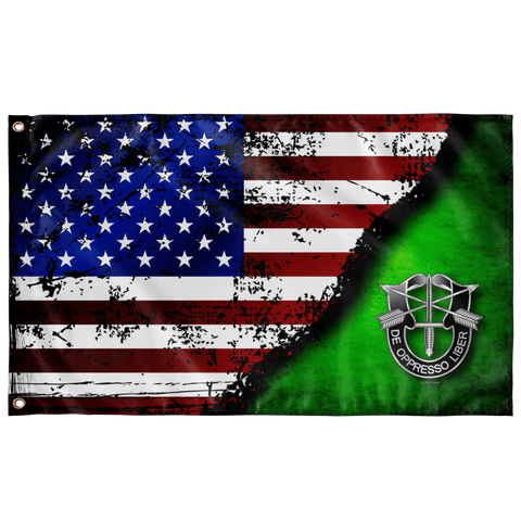 "Special Forces Crest Stars & Stripes Flag (AZ 08) Elite Flags Wall Flag - 36""x60"""