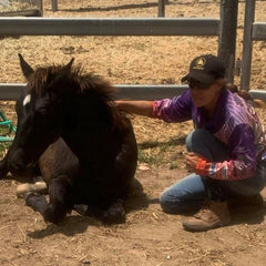Marita Hird with her foal, Archie