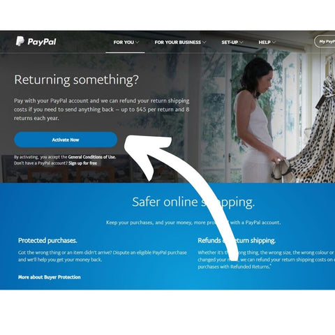 Activate Account for PayPal Paid Return Shipping
