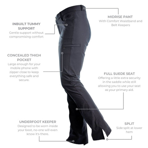 Horse Riding Pants with Split at Hem from Ride Proud
