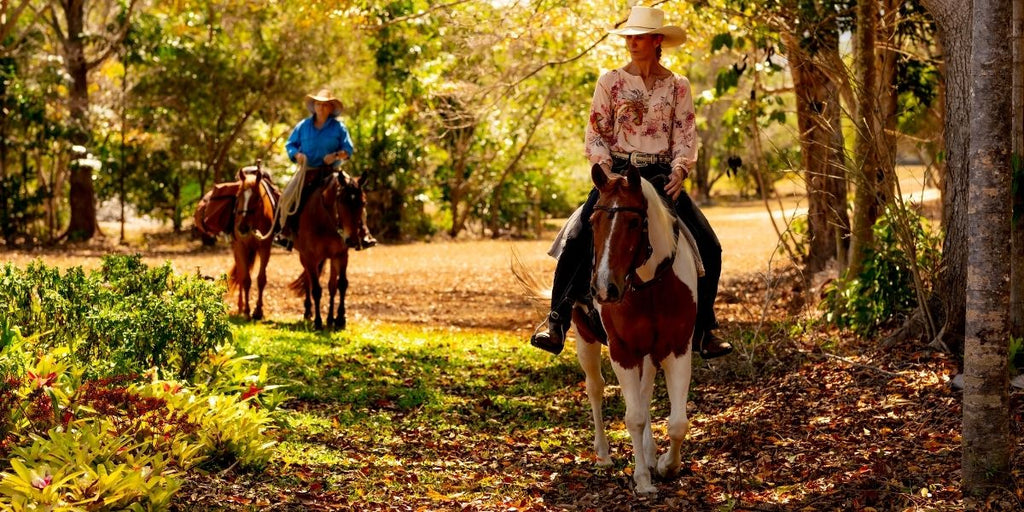 Proud Woman Riding Horse on Trail