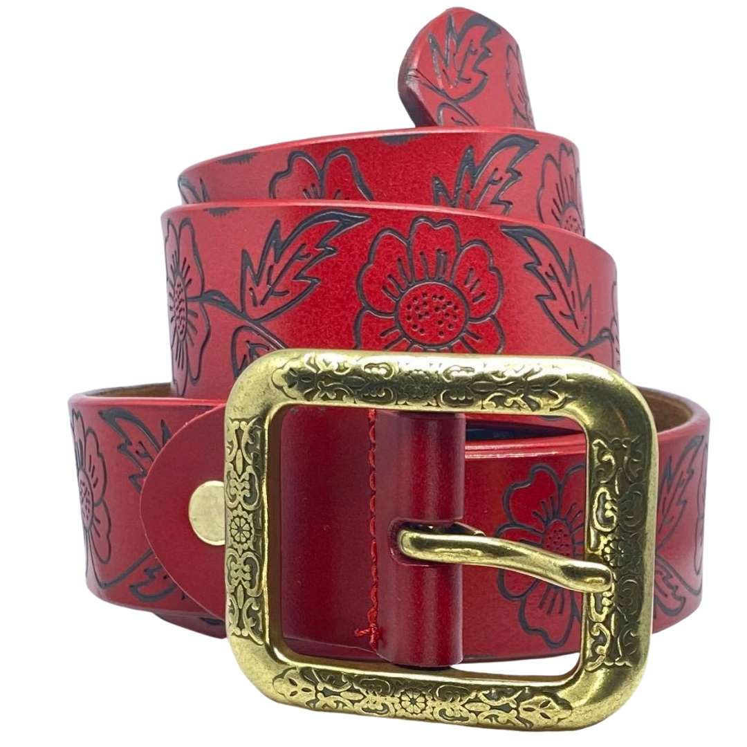 Red Flower Embossed Leather Belt