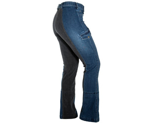 Side View of Horizon Style Horse Riding Jeans in Light Faded Wash showing Thigh Pocket
