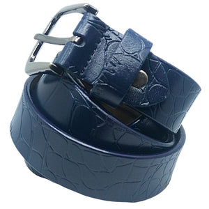 Blue Reptile Print Embossed Leather Belt