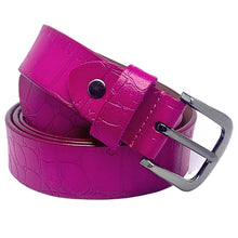Load image into Gallery viewer, Pink Reptile Print Embossed Leather Belt