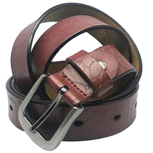 Tan Reptile Print Embossed Leather Belt