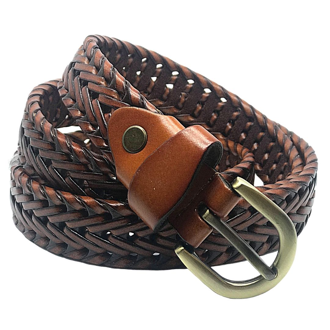 Tan Coloured Plaited Leather Belt