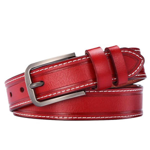 Leather Belt with White Contrast Stitching - Ride Proud Clothing