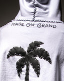 White Hooded Sweatshirt with Palm Tree Appliqué