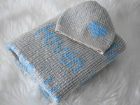 Custom Personalized Swaddle and Hat  with Name