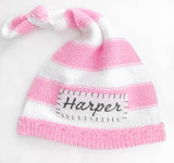 Striped Knotted Personalized Baby Hat - gugagii