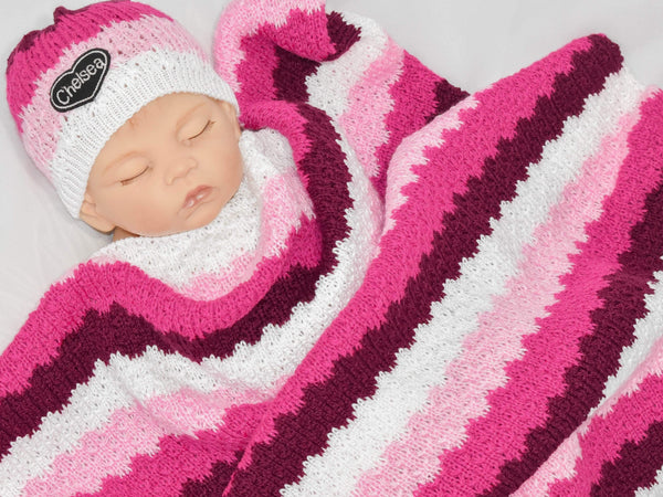 gugagii Swaddling Sets Striped Custom Colors Baby Girl Swaddling Set with Name