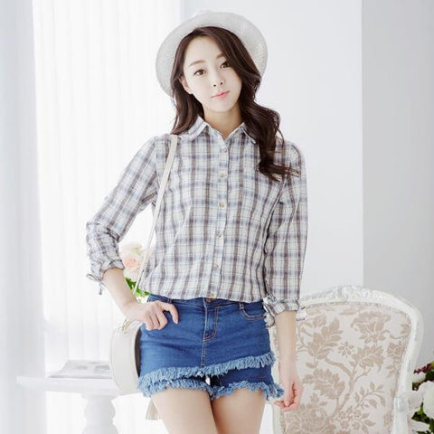 Heraposh  Polo Free Size / White checkered Adrienne Checkered Shirt HP-T000017