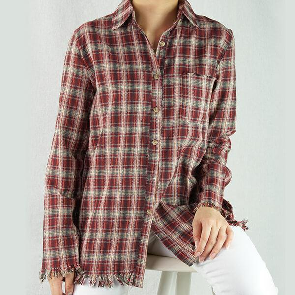 Heraposh  Polo Free Size / Red checkered Adrienne Checkered Shirt HP-T000017
