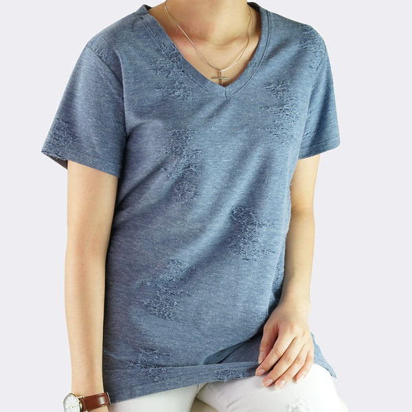 Heraposh  Tops Free Size / Acid Blue Alexa V-Cut Tattered Shirt HP-T000109