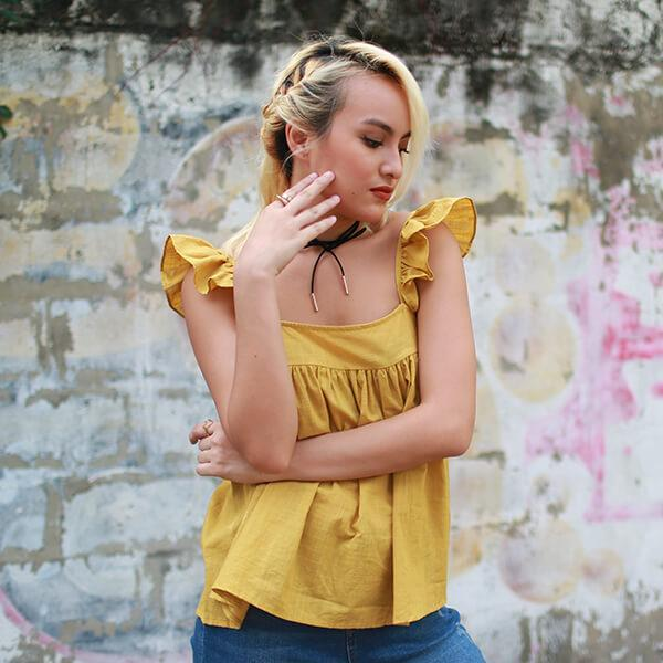 Heraposh  Tops Free Size / Yellow Alyssa Flutter Sleeves Top HP-T000101