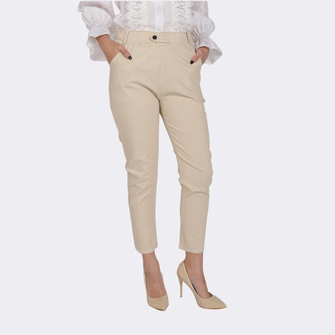 Heraposh Bottoms Small / White Amber Textured Button Pants HP-B000057