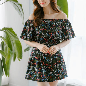 Heraposh  Tops Free Size / Black ( Red Flower ) Arrabella Summer Floral Set HP-T000084