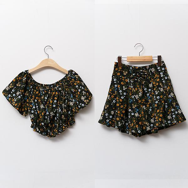 Heraposh  Tops Free Size / Black ( Yellow Flower ) Arrabella Summer Floral Set HP-T000084