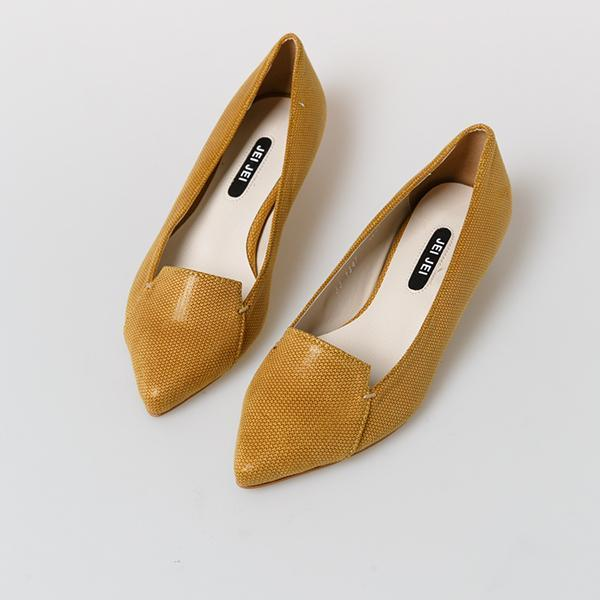 Heraposh  Flats 235 / Yellow Autumn Kitten Heels HP-S000001