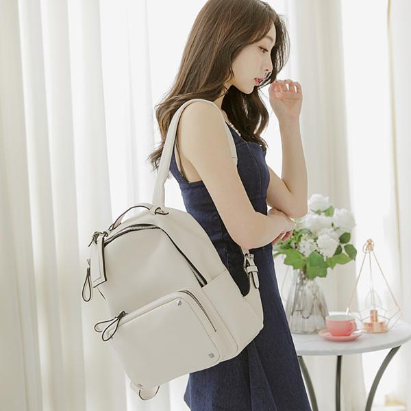 Heraposh  Bags Ivory Ava Smooth Leather Backpack HP-BA000006