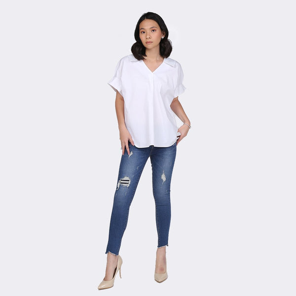 Heraposh  Tops Free Size / White Barbara Loose Top HP-T000135
