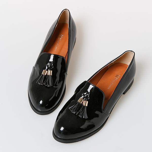 Heraposh  Flats 230 / Black Barbie Glossy Loafers HP-S000019