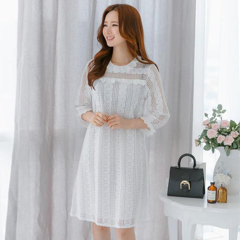 Heraposh  Dress Free Size / White Beatrice Eyelet Dress HP-D000034