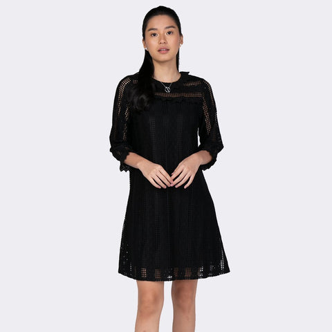 Heraposh  Dress Free Size / Black Beatrice Eyelet Dress HP-D000034