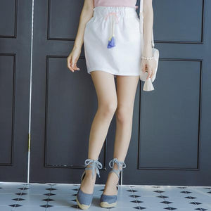 Heraposh  Bottoms Free Size / White Blaire Tassel String Mini Skirt HP-B000015