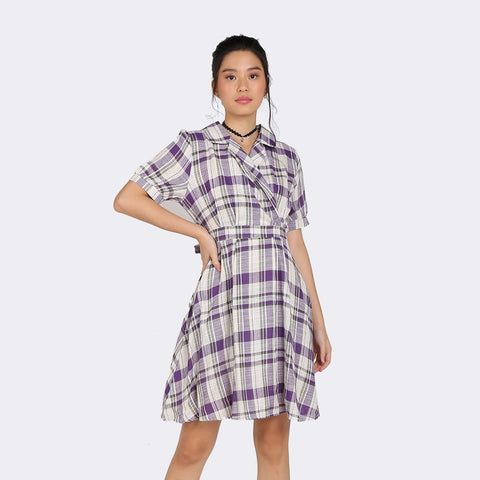 Heraposh Dress Chaeyoung Plaid Collar Dress