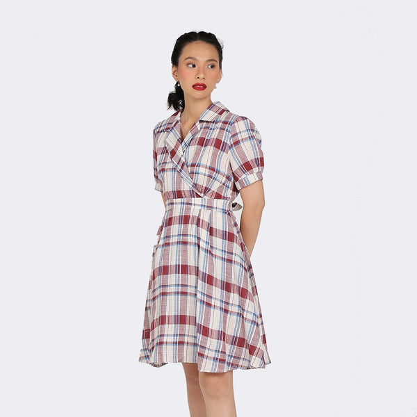 Heraposh Dress Free Size / Maroon Chaeyoung Plaid Collar Dress HP-D000050