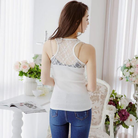 Heraposh  Tops Free Size / White Charlotte Lacy Back Sleeveless Top HP-T000048