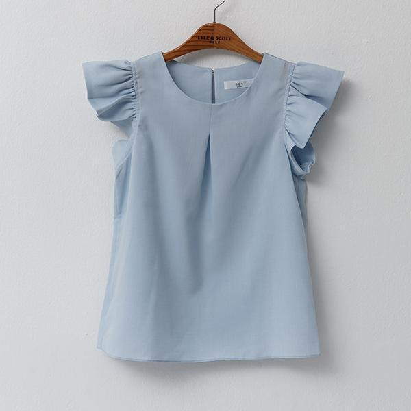 Heraposh  Tops Free Size / Baby blue Clara Flutter Sleeves Blouse HP-T000006