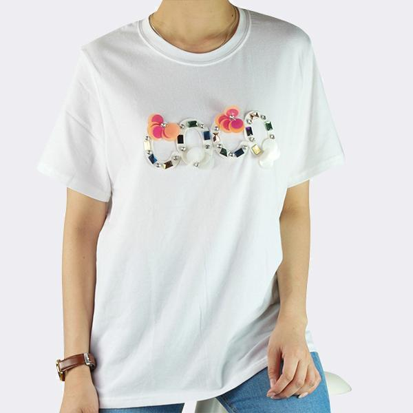 Heraposh  Tops Free Size / White COCO Embellished Shirt HP-T000111
