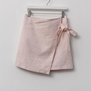 Heraposh  Bottoms Free Size / Baby pink Danielle Side Belted Skirt HP-B000014