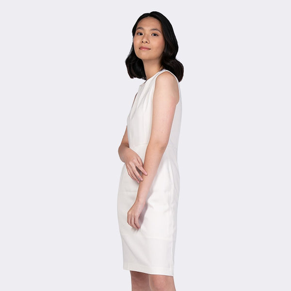 Heraposh  Dress Small / Cream Ellaine Sleeveless Sheath Dress HP-D000039