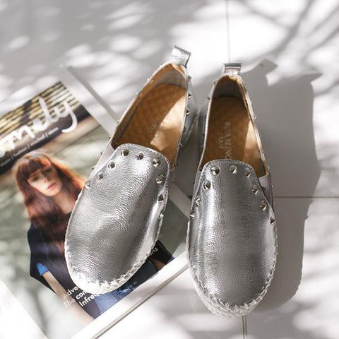 Heraposh  Flats 235 / Silver Erin Shiny Loafers HP-S000023