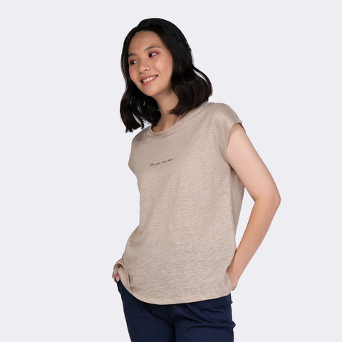 Heraposh  Tops Free Size / Light Brown Gracias Por Todo Top HP-T000123