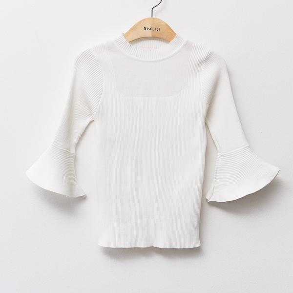 Heraposh  Tops Free / White Hera Trumpet Sleeve Top HP-T000086