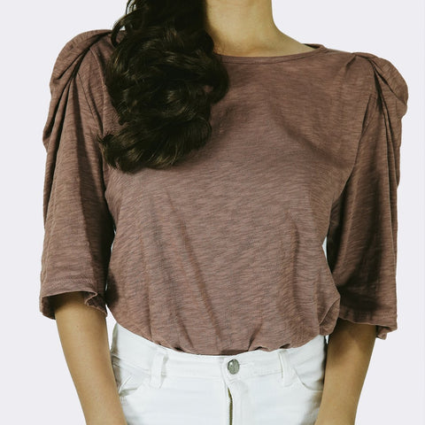Heraposh  Tops Free Size / Brown Hope Round Neck Top HP-T000103
